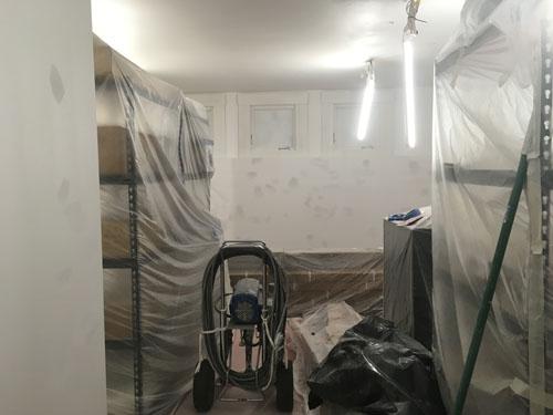 Basement painting underway