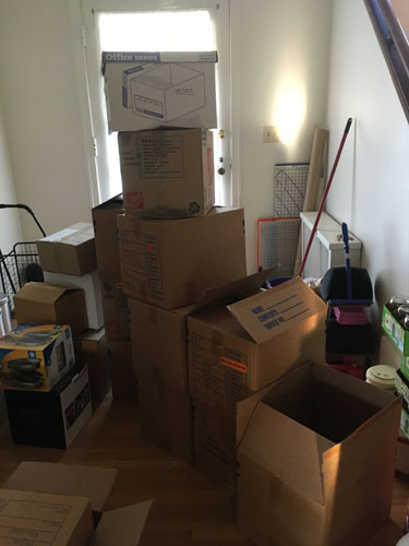 Stack of things to be moved by car in the rental house