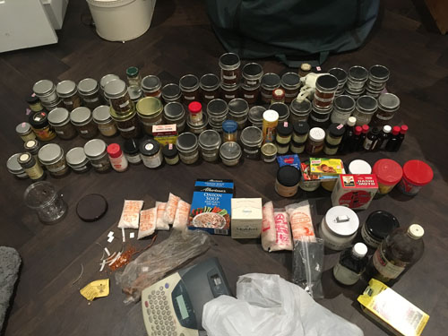 Spices arranged on the floor