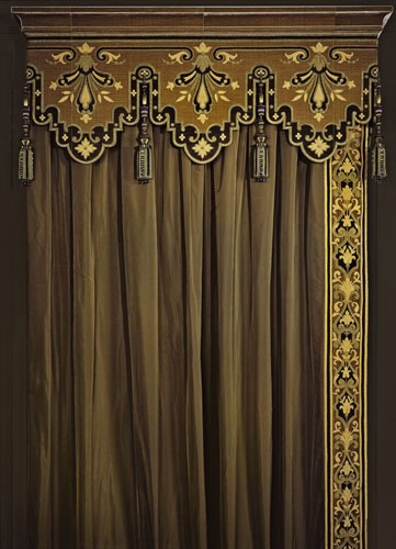 Crazy velvet curtain and cornice